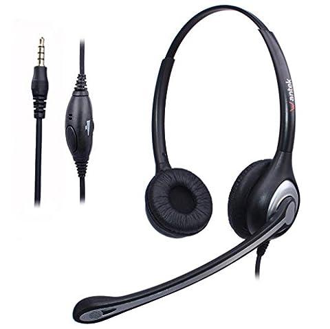 Casque Téléphone Portable Filaire Binaural avec Micro Anti-bruit, WANTEK Écouteurs Smartphone pour iPhone Samsung Huawei HTC LG Blackberry Téléphones Android avec Oreillette Jack 3,5 mm(F602J35)