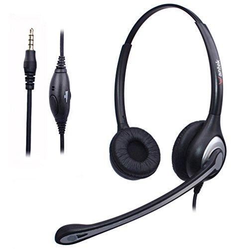 Wantek Handy Headset Binaurale mit Noise Cancelling Mikrofon und Einstellbar Fit Stirnband für iPhone Samsung Huawei HTC LG ZTE Blackberry Mobiltelefon und Smartphones mit 3,5mm Klinke(F602J35)