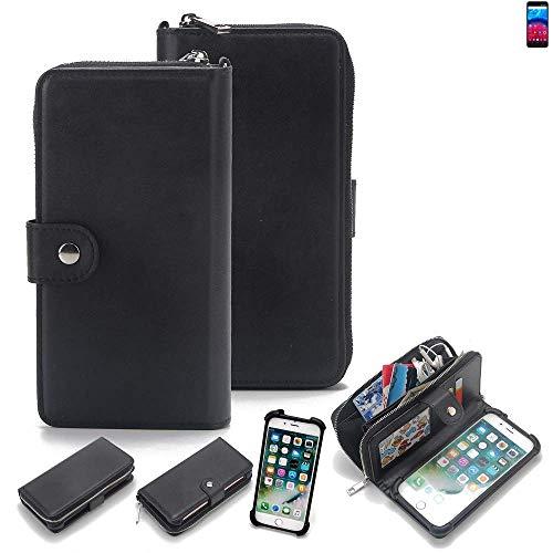K-S-Trade 2in1 Handyhülle für Archos Core 60S Schutzhülle & Portemonnee Schutzhülle Tasche Handytasche Case Etui Geldbörse Wallet Bookstyle Hülle schwarz (1x)