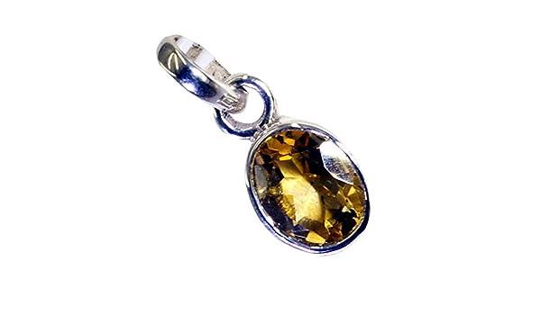 CaratYogi Oval Cut Citrine Sterling Silve 925 Jewelry Yellow Stone Charms Chakra Healing for Fashion Pendant