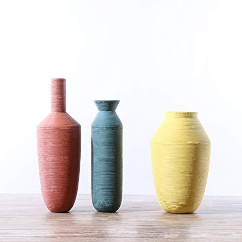 SMAQZ Wohnzimmerblumengesteck Aus Keramik, Morandi Dreiteilig Gebürstet