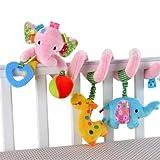 SUxian Kinderwagen Spielzeug, Elefant Babybett Kinderwagen Spirale RattlesToys Kinderwagen Hängen Spielzeug Autositz Spielzeug Rosa