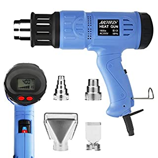 Heat Gun MOWIS 1800W Hot Air Gun with 4 Replacement Nozzles Digital LCD Display Adjustable Temperature 100℃- 600℃ Adjustment Air Flow 190L-500L/min for DIY Embossing Shrinking PVC Stripping Paint