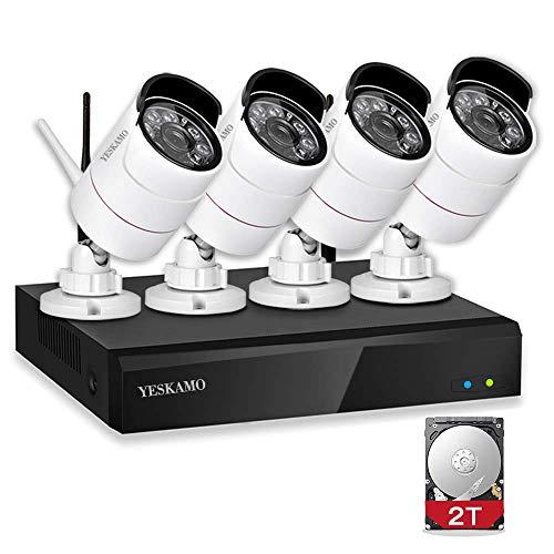 YESKAMO Caméra de Surveillance sans Fil avec 4CH 1080P NVR et 4 Cameras WiFi HD 2.0 Mégapixels System de Videosurveillance Extérieur et Intérieure de la Maison avec 2 to Disque Dur Accès à Distance