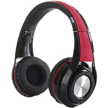 Joyeer Cuffia pieghevole Bluetooth Wireless + cablata auricolare stereo a basso rumore auricolare per iPhone iPad iPad telefono Android Tablet , red