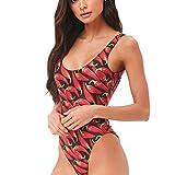 IZHH Bikini One Piece Push Up Printed Bikini Beach Badeanzug Monokini Badeanzug Bademode Chili-Print einteiliger Bikini(Rot,Medium)