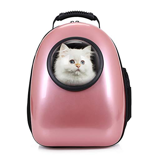 Petcomer Mochila Cápsula Impermeable Transportín en Forma de Burbuja para Mascotas Perros Gatos (Oro de Rosa)