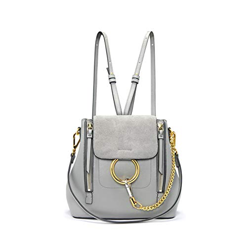 Frauen Retro Circular Ring Crossbody Rucksack Geldbörse, Small PU Leather Shoulder Daypack Ladies Cute Chain Satchel Bag Makeup Pouch Für Mädchen,Gray