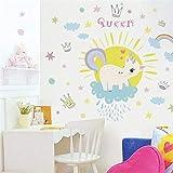 ELGDX Adesivi murali Colorato Unicorno Arcobaleno Regina per Camera dei Bambini Ragazze Camera da Letto Stickers murali Finestra Nursery Decor Regalo di Compleanno