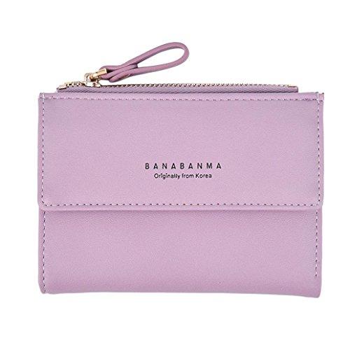 Portafoglio Donna, Tpulling Portafoglio in pelle della frizione delle donne della borsa della signora Short della borsa (Hot Pink) Purple