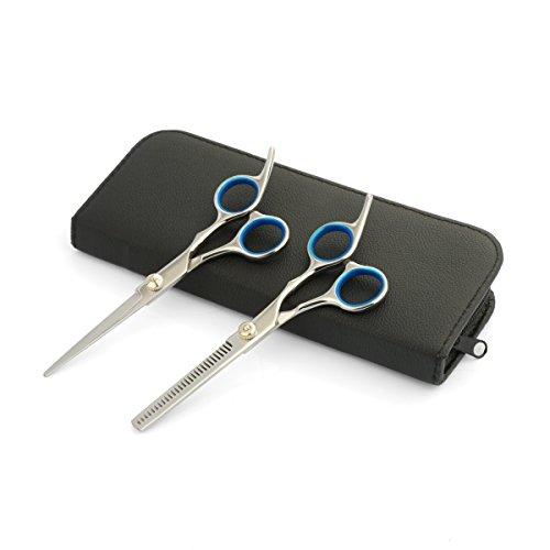 Ensemble Ciseaux de Coiffure - 6.5'' - Kit Ciseaux Coupe de Cheveux et Ciseaux à Désépaissir pour Coiffeurs - Usage Familial et Professionnel, Argent