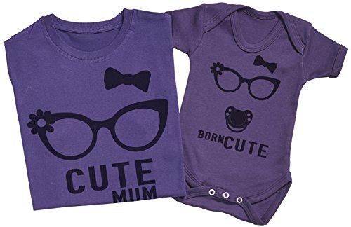 Zarlivia Clothing Born Cute - Ensemble Mère Bébé Cadeau - Femme T Shirt & bébé Bodys - Violet - L & 3-6 Mois