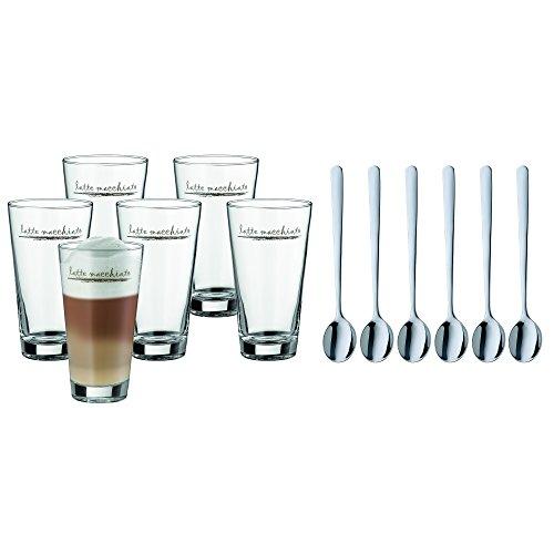 WMF Clever&More Latte Macchiato Set, 12-teilig, Latte Macchiato Glas mit Löffel, Latte Macchiato 280 ml, spülmaschinengeeignet