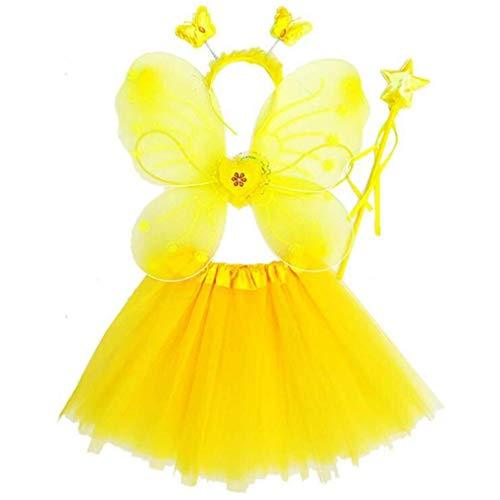 Gaga city 4 Stück Kostüm Mädchen Fee Flügel Tutu Set Schmetterlingsflügel Zauberstab Stirnband Prinzessin Kinder Party Kostüm Cospaly Karneval