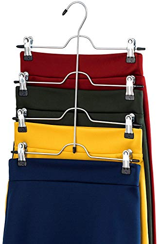 ABREOME Lot de 3 cintres à vêtements en métal antidérapants réglables avec Clips coulissants et Gain de Place 4 Niveaux