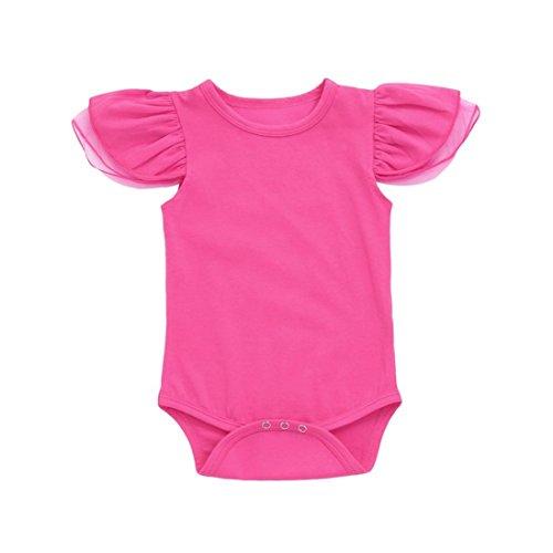 Kinderbekleidung,Neueste Modell Neugeborenes Baby Mädchen Kleider Bowknot Spitze Prinzessin Spielanzug Overall Body Outfits Streetwear Blusen hautfreundlicher Baumwolle (3-6M/70, Hot ()