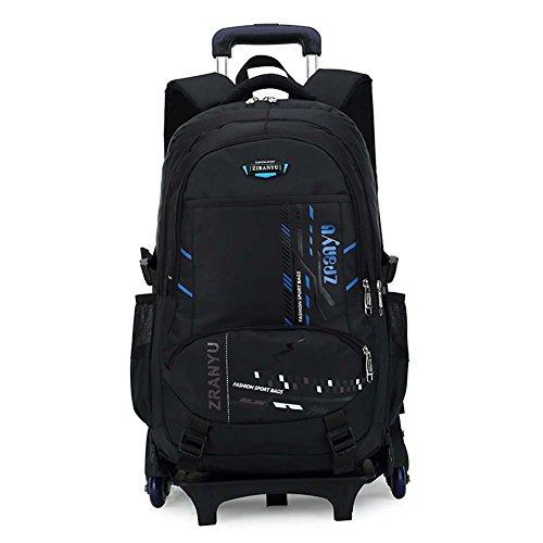 RYC Trolley Bag Cadeaux Rentrée Scolaire Sac à Dos avec Roulettes Cartable à Roulette Sac Enfant Scolaire Loisir Voyage Fille Garçon Primaire Maternelle 6 Roues Bleu 49*32*18cm