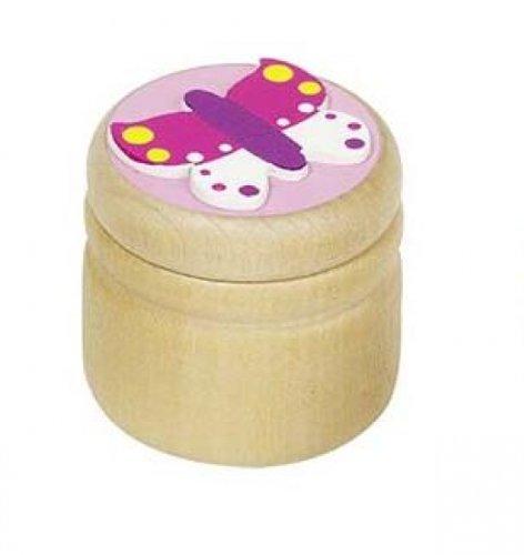 Milchzahndose rosa Schmetterling Holz Zahndose Holzdose