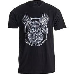 Ann Arbor T-shirt Company Motivo Vikingo para Amantes de la mitología nórdica - Odín en Valhalla - Camiseta para Hombre X-Large Negro - X-Grande - XL