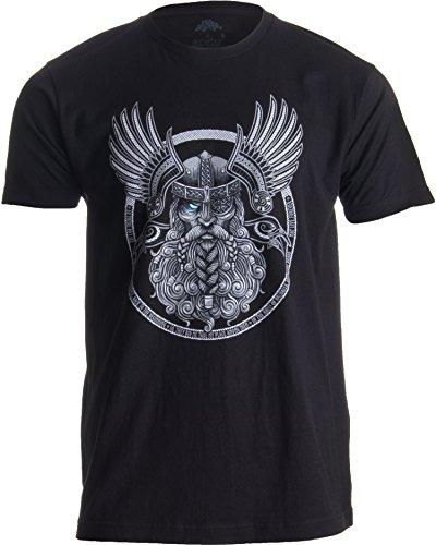 Ann Arbor T-shirt Company Motivo Vikingo para Amantes de la mitología nórdica - Odín en Valhalla - Camiseta para Hombre Grandes Negro - Grandes - L