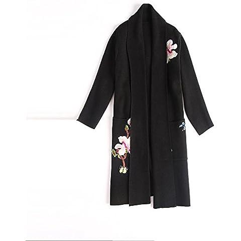 BIU Pesados ??retro damas bordados solapa de mujeres de la capa del suéter de manga larga , black ,