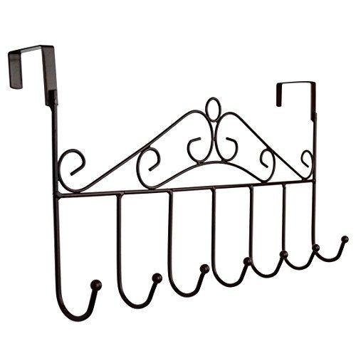 rbenxia über der Tür Kleiderbügel Rack-dekorative Metall Aufhänger Halterung für Home Büro 7 hook:brown (Tür Dekorative Kleiderbügel)