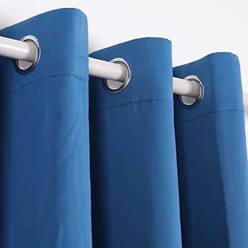 Deconovo Verdunkelungsgardinen mit Ösen Vorhang Blickdicht Ösenvorhang Blickdicht 245×140 cm Blau 2er set - 2