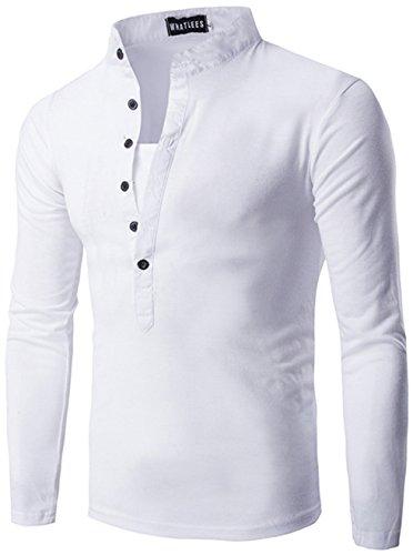 Baumwoll Jersey Henley (Whatlees Herren Urban Basic Henley langarm T shirts Muskelshirt mit weiches Jersey)