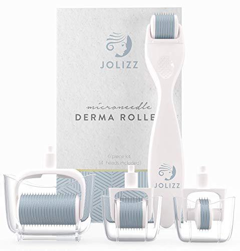 Jolizz Dermaroller - Microderma Schleifwerkzeug mit VIER Titan austauschbaren Mikronadelköpfen von 0,25 mm :1 Kleine Derma Roller mit 240 Nadeln, 2 Medium mit 600 Nadeln und 1 Large mit 1200 Nadeln