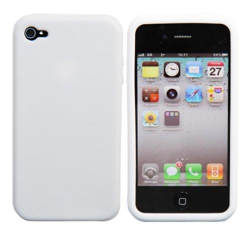 Luxburg® Housse Etui Coque Apple iPhone 4S / 4 silicone case TPU Blanc