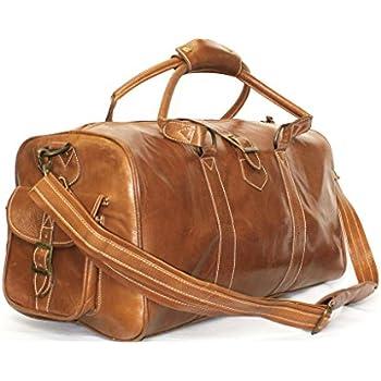 Medium Tan Ladies Premium Leather Holdall Duffle Travel Sports Gym ...