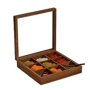 stylla fait à la main en bois à épices à sec Fruits Rafraîchissements Bijoux Boîte de rangement Organisateur