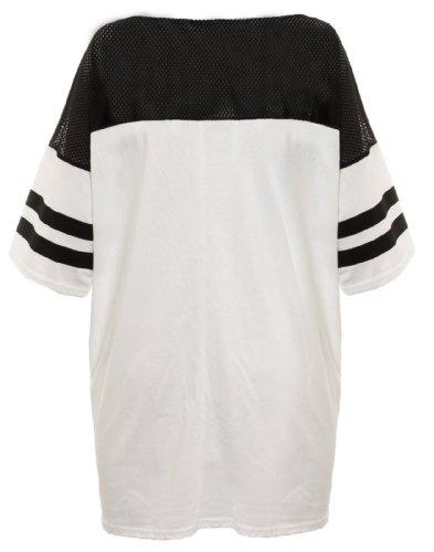 Damen-T-Shirt, American Football-Top 87, Chicago-Wolfendruck, Verschiedene Kollektionen, Gr. S/M (UK 8-10), Weiß