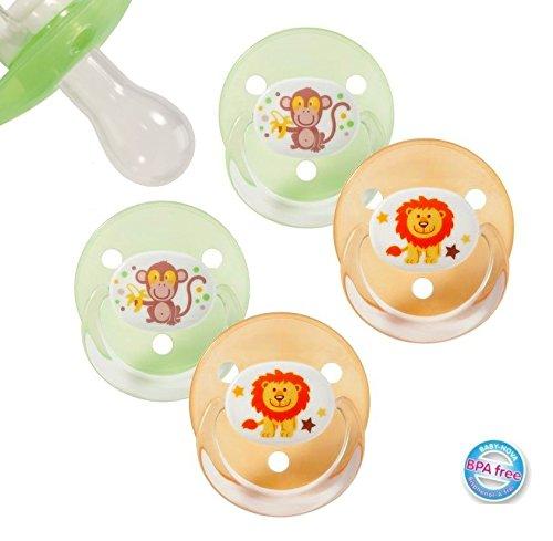 Preisvergleich Produktbild 4 Stück (2 Packungen) Baby Nova Kirschform Tropfenform Schnuller Gr. UNI 0-18+ Monate (Silikon)