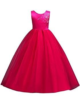 Brightup Grande ragazze principessa vestito fiore ragazza Tulle Abito festa di compleanno bambini ricamati A-line...