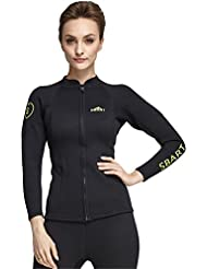 SANANG 2MM Neoprene Femmes Wetsuit Tops Maillot de bain à manches longues Chemise anti-UV Spearfishing Swim Diving Jacket