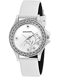 OCTIVO MARTIN OM-LT 2001 White Dial Studded Bezel White Synthetic Leather Strap Analog Watch - For Women & Girls...