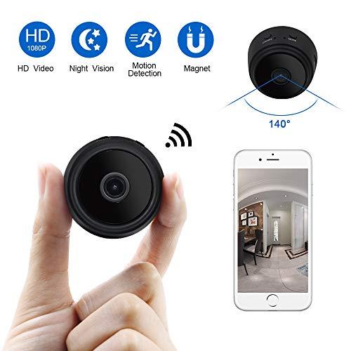 Mini Kamera, UYIKOO Mini Wifikameras HD 1080P Überwachungskamera Tragbar 140° WiFi IP-Kamera Kindermädchen Kamera mit Nachtsicht/Bewegungsmelder Unterstützung Smartphone App Fernsicht (Wireless-kamera-app)