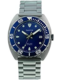 Mens watches Pantor Sealion 300m Automatic Pro divers watches with Helium Valve Rotating Bezel Sapphire Stainless Steel bracelet & Rubber strap dive watch blue SRPA21K1