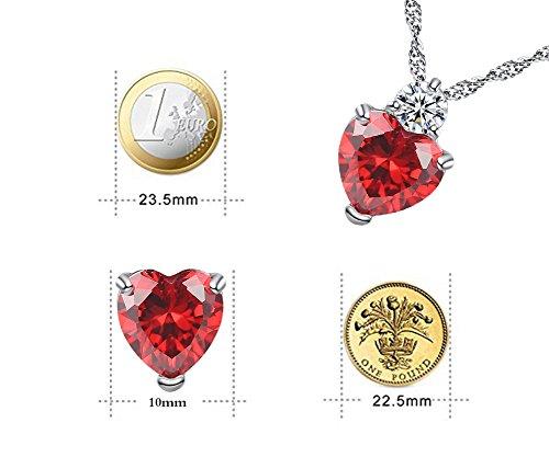 Hosaire en Sistemas de la Joyería  Collar Pendientes Diamante Estilo Corazón Elegante Joyería Mujer Cristal Juego De Cristal Colgante Collar + Pendientes