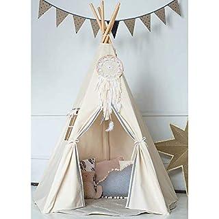 WYFDM Tipi Zelt für Kinder, 100% Baumwolle Spielzelt - Großes Indoor/Outdoor Tipi für Jungen & Mädchen + Free Fun Flags