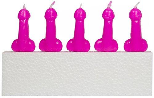 5 pinke * PIMMEL-KERZEN * als Deko für Party, Geburtstag und Jungesellenabschied // Kuchen Torte Candle Penis