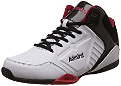 Admiral Mens Karl White, Black and Red Basketball Shoes - 11 UK/India (46 EU)(11-10017)