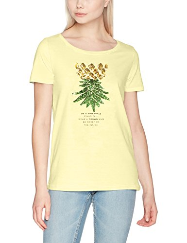 ONLY Damen onlKITA S/S SEQUINS PINEAPPLE BOX ESS T-Shirt,,per pack Gelb (Pale Banana Print:Crown),40 (Herstellergröße:L) (T-shirt Frauen Bananas)