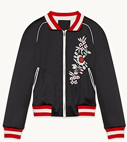 Blumen Embroidery Zip Up Collegejacke Bomberjacke Blouson Aviator Flight Jacket Jacke Oberteil Top Schwarz - 6