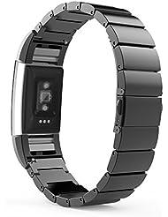 MoKo Fitbit Charge 2 Correa - Reemplazo SmartWatch Band de Reloj de Acero Inoxidable Bracelete con Hebilla Plegable de Doble Botnnes Pulsera para Fitbit Charge 2 Heart Rate + Fitness Pulsera ( NO INCLUIYE EL RELOJ Y MARCO), Negro