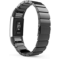 MoKo Replacement Universal Stainless Steel Watch Band Strap Bracelet + Connector for 2016 Fitbit Charge 2 Parent.