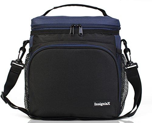 Lunchbox für Erwachsene und Kinder S2: InsigniaX Lunchbag/Lunchtasche/Lunch Bag/Tasche/Box Auslaufsicher BPA Frei für Manner Tupperware Bento Größe H: 25,4 cm x T: 12,95 cm x B: 23,37 cm (Groß, Navy blau) (Thermos Lunch Bag Schwarz)