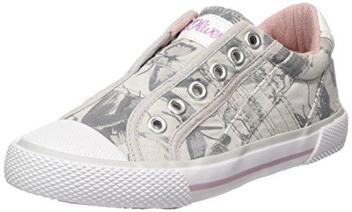 s.Oliver Mädchen 44107 Slip On Sneaker grau (grey FLOWER)