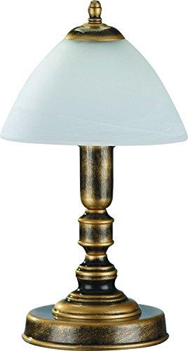 Tischleuchte Messing Optik Weiß Glas Metall 32cm edel Lampe Jugendstil Antik Nachttischlampe Beistelltisch -
